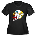 Miquiztli Women's Plus Size V-Neck Dark T-Shirt