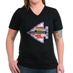 USS BATON ROUGE Women's V-Neck Dark T-Shirt
