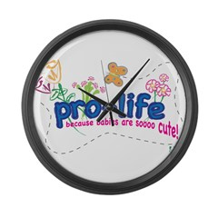 Pro-Life Flowers & Butterfly Large Wall Clock