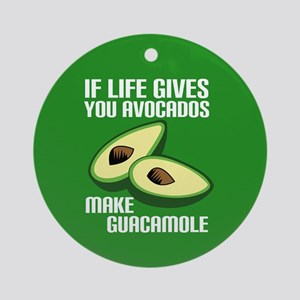Avocado Humor Round Ornament