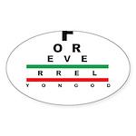 FROG eyechart Sticker (Oval 50 pk)