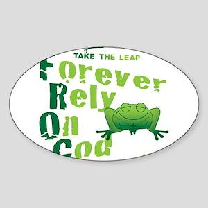 FROG = Forever Rely On God Sticker (Oval)