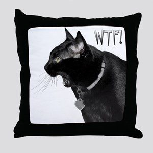 WTF kitty Throw Pillow