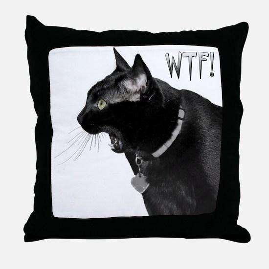 WTF kitty Throw Pillow