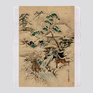 Japanese Ukiyo-e Samurai (B) Throw Blanket