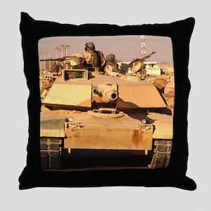 M1A1 Abrams MBT patrol route  Throw Pillow