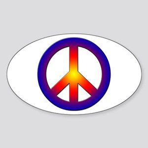 Cool Peace Sign Oval Sticker