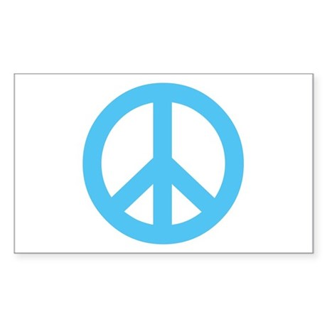 Blue Peace Sign Rectangle Sticker