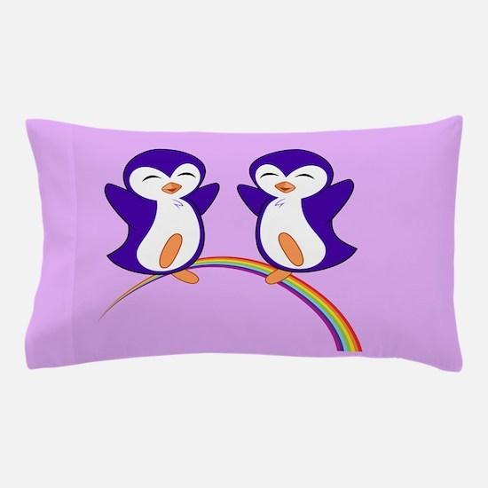 Purple Penguins Pillow Case