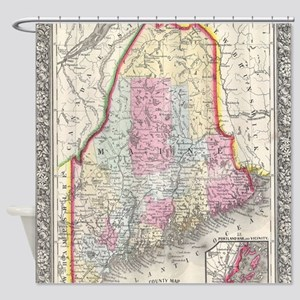 Vintage Map of Maine (1864) Shower Curtain