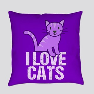 Purple Cat Everyday Pillow