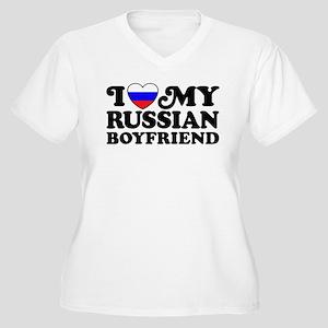 I Love My Russian Boyfriend Women's Plus Size V-Ne