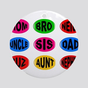 Isolated Family Buttons Round Ornament