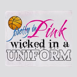 Pretty In Pink Basketball Throw Blanket