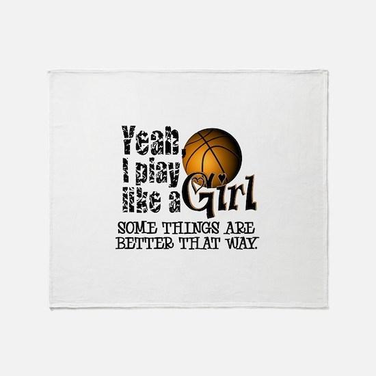 Play Like a Girl - Basketball Throw Blanket