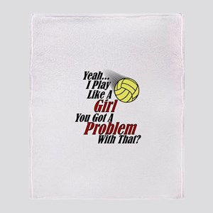 Play Like A Girl - Volleyball Throw Blanket