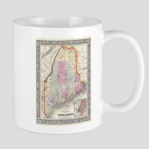 Vintage Map of Maine (1864) Mugs