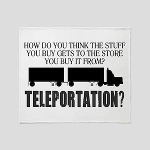 Teleportation Truck Driver Throw Blanket
