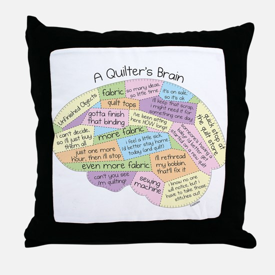 Quilter's Brain Throw Pillow