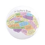 "Quilter's Brain 3.5"" Button"