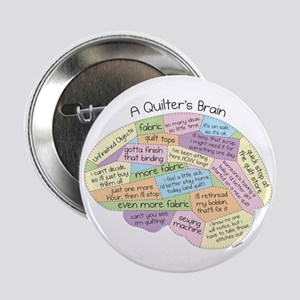 "Quilter's Brain 2.25"" Button"