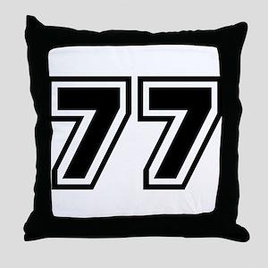 Varsity Uniform Number 77 Throw Pillow