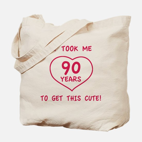Funny 90th Birthday (Heart) Tote Bag