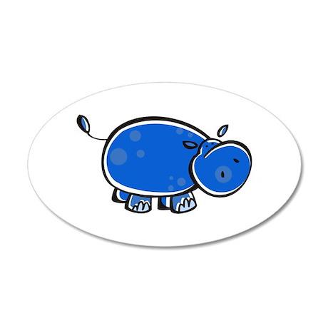 Bright Blue Hippo 22x14 Oval Wall Peel