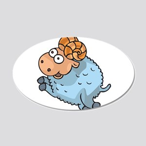 Funny Leaping Ram 22x14 Oval Wall Peel