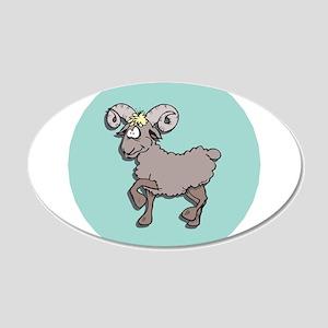 Goofy Grey Ram 22x14 Oval Wall Peel