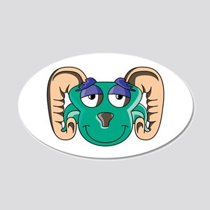 Grinning Colorful Ram Face 22x14 Oval Wall Peel