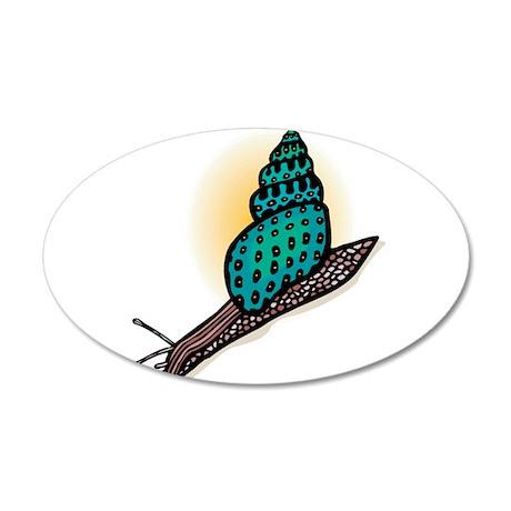 Pretty Turquoise Snail 22x14 Oval Wall Peel