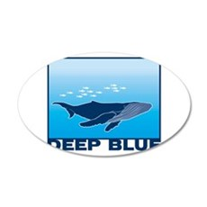 Deep Blue Sea Whale Design 22x14 Oval Wall Peel