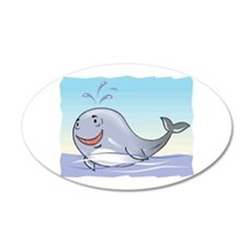 Happy Whale 22x14 Oval Wall Peel