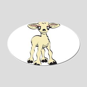 Cute Baby Lamb 22x14 Oval Wall Peel
