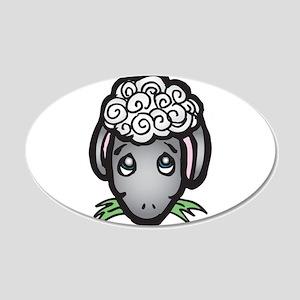 Cute Black Face Sheep 22x14 Oval Wall Peel