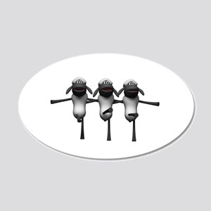 Silly Dancing Sheep 22x14 Oval Wall Peel
