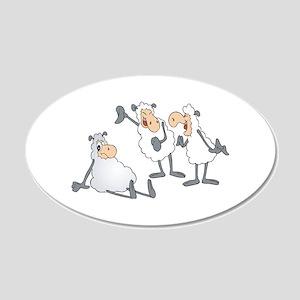 Funny Mocking Sheep 22x14 Oval Wall Peel