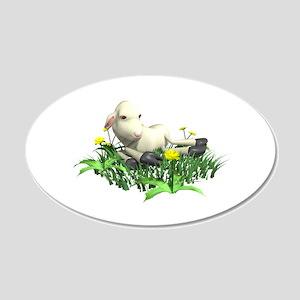 Cute Resting Lamb 22x14 Oval Wall Peel