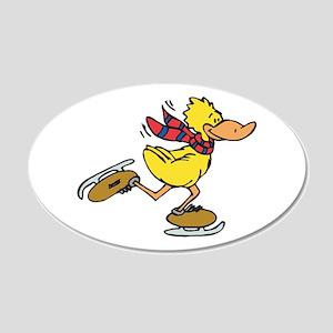Ice Skating Duck 22x14 Oval Wall Peel