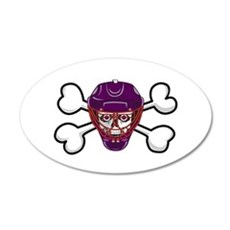 Hockey Skull & Crossbones 22x14 Oval Wall Peel
