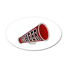 Red Cheer Megaphone 22x14 Oval Wall Peel