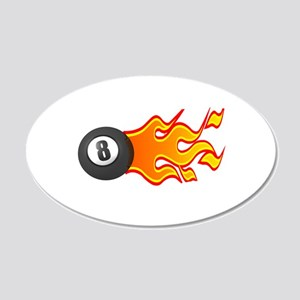 Eight Ball on Fire 22x14 Oval Wall Peel