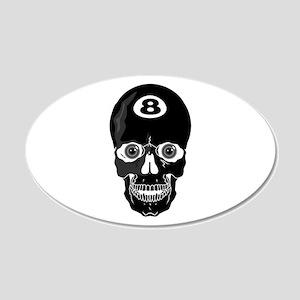 Eight Ball (8 Ball) Skull 22x14 Oval Wall Peel