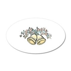 Wedding Bells and Rings 22x14 Oval Wall Peel
