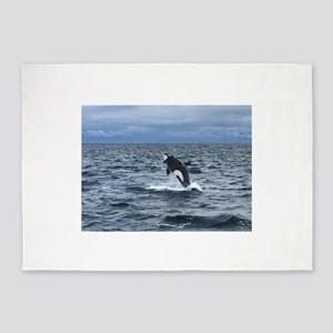 Leaping Orca Whale 5'x7'Area Rug