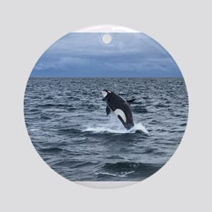 Leaping Orca Whale Round Ornament