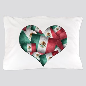 Grunge-Style Flag of Mexico Heart - M Pillow Case