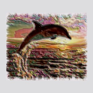 DOLPHIN AT SUNSET Throw Blanket
