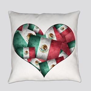 Grunge-Style Flag of Mexico Heart Everyday Pillow